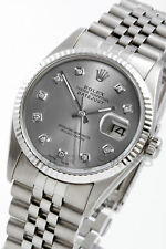 Rolex Men's Datejust Steel Slate Diamond Gold Fluted Jubilee 16014 Quickset