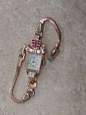 Vintage Americus 14k Rose Gold Watch with Diamonds & Rubies