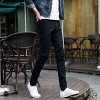 Men Slim Washed Denim Jeans Long Straight Skinny Pants Pencil Casual Trousers