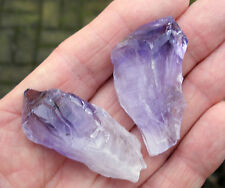 2 x AMETHYST ROUGH NATURAL UNPOLISHED FLAT POINTS BRAZIL 45mm - 50mm BAG ID CARD
