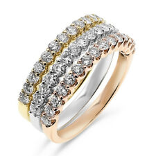 Diamond Wide Stacked Right Hand Band Ring $5223 18K Rose White Yellow Gold Pave
