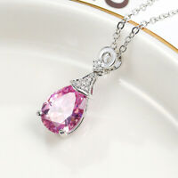 Water Drop Natural Pink Quartz Gems Silver Woman Necklace Pendants With Chain