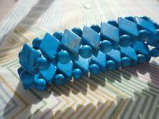 lapis resin beaded 41 gram stretch bracelet Deco style bright blue 2cm wide faux
