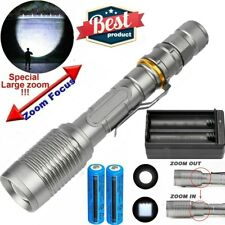 Rechargeable LED Flashlight 990000LM T6 Adjustable Focus Torch+2*Battery+Charger