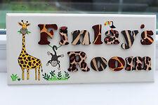 Children's wooden jungle themed bedroom door sign name plaque jungle nursery