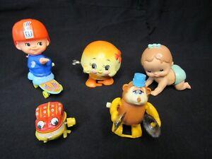 Lot of 5; Vintage Plastic Mechanical Wind Up Toys TOMY
