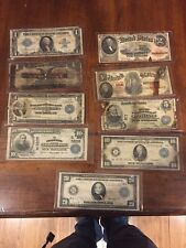 9 diifferent large size Bills types 1914 1907 1902 1923 Silver Certificate Lot