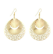 Big Gold Disc Earrings Round Statement Party Drop Hoop Ethnic Dangle African UK