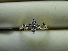 Sweet Genuine Diamond 14K Yellow Gold/925 S Silver Ring Size L-M/6