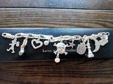 Karen Walker Charm Bracelet 925SS w 9ct rose gold & black diamond charm
