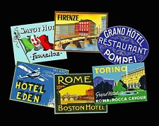 Hotel Travel Luggage Labels & Baggage Tags, 6 Steam Trunk REPRODUCTION Stickers