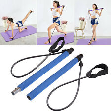 Portable Pilates Bar Kit W/Resistance Band Adjustable Exercise Stick Toning Gym
