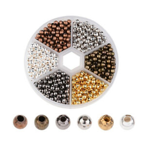 948pcs/Box Iron Smooth Metal Beads Loose Spacers Findings 6 Color Box Kits 4mm