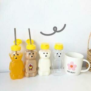 Lovely Cartoon Bear Straw Cup Water Bottle with Lid Leakproof Home Travel Couple