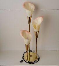 Pink Art Deco 1980s Harris Industries 3 Way Light Stemmed Flower Table Lamp