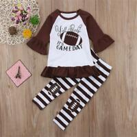 NEW Football Girls Ruffle Tunic Striped Brown Leggings Outfit Set 3T 4T 5T 6 7