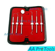 6 Pcs Dental Scaler Pick Stainless Steel Tools With Inspection Mirror Kit Pr 255