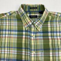 Van Heusen Button Up Shirt Mens L Green Blue Yellow Plaid Pocket Wrinkle Free