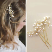 Wedding Bridal Hair Comb Clip Crystal Rhinestone Flower Faux Pearl Hairpin N_N