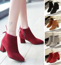 Women Lady Suede High Heel Office Work Party Club Chunky Block Ankle Boots Shoes