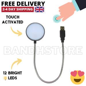 White Flexible USB 12 LED Lamp Light Torch for Laptop Computer Mac Desk & Table