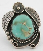 Vintage Native American Navajo big & ornate Green Turquoise Sterling silver ring