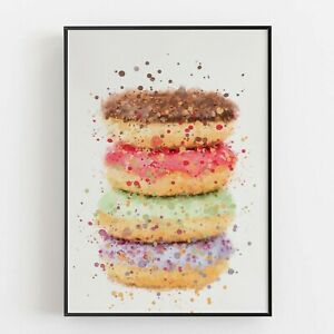 P0182 | Cakes | Stack Of Doughnuts | Wall Art Print | Poster | Kitchen | Bakery