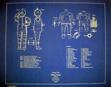Deep Sea Diving Armor Suit 1918 Blueprint Plan Display 18x23 (196)