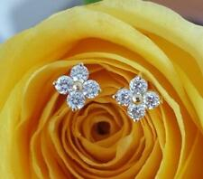 0.24tcw G/SI1 Genuine Diamond Stud Florette Earrings 18k 18ct Solid Yellow Gold