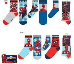BOYS MARVEL SPIDERMAN SOCKS 3 PACK SOCKS 6 DESIGNS 3 PAIRS NEW