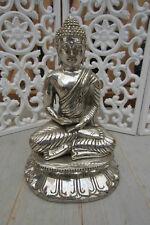 BUDDHA BUDHA 21CM MESSING VERSILBERT MEDITATIONSGESTE SKULPTUR ASIA-STONE-KÖLN
