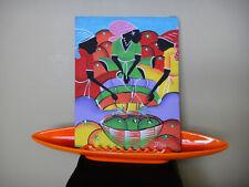 Wonderful combination colorful original art w pottery