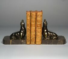 "Vintage French Art Deco Spelter and Marble Bookends, ""Seals"""