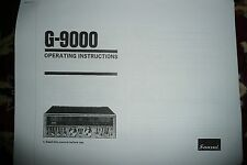 Sansui G-9000 Owner's Manual / Instructions + Service Manual for G-9000 & G-8000
