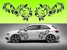2x Swirly flowers car vinyl (f4) STICKER DECAL VAN CAR COLOUR DUB JDM