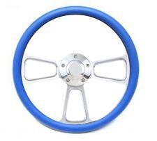 Sky Blue & Polished Billet Steering Wheel with Billet Horn Button