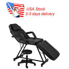 """Us 72"""" Adjustable Beauty Salon Spa Massage Bed Chair with Stool Black"""