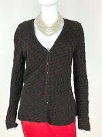 Escada New 10 US 46 IT 40 D M Wool Silk Cashmere Cardigan Sweater Runway Auth