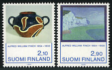 Finland 868-869, MNH. Alfred W. Finch, Ceramic vase, paintings, 1991
