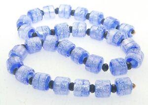 OliveStuart Handmade Lampwork Beads 30 blue tiny barrel dichroic