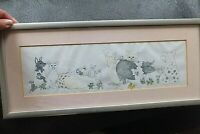 Funny ORIGINAL WATERCOLOUR AND INK PAINTING PICTURE  OF PIGS, PIG FARM, SIGNED