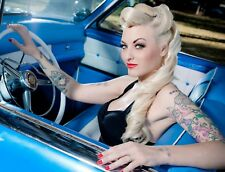"TIN SIGN ""Babe Blue Driver"" Pinup Babe Deco Garage Wall Decor"