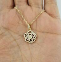 14K Yellow Gold Diamond Rose Flower Pendant Necklace