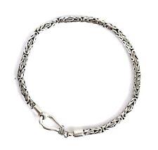 Sterling Silver Bracelet Bali /Byzantine /Borobudur Chain design | Slim Chain 3m