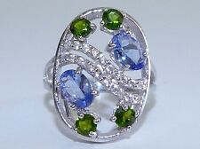 GENUINE! RARE 1.90cts! Tanzanite & Chrome Diopside Ring in Sterling Silver 925!