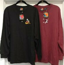 87ac2229b TWO Mickey Mouse Unlimited Long Sleeve L Large Shirts Jerseys Black Maroon
