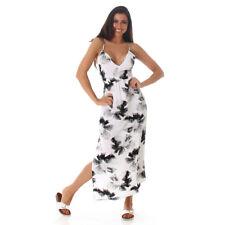 Sexy Kleid Maxikleid Trägerkleid mit Blumen Print Weiß Schwarz Größe 42