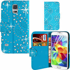 Bling Stud Jeweled Diamond Leather Book Wallet Flip Case Cover For Various Phone