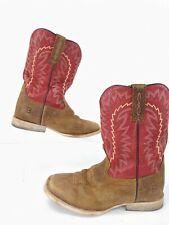 Ariat Relentless Elite Dust Devil Red Tan Cowboy Western Boots Shoes Boys Size 2