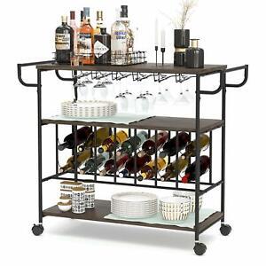Industrial Bar Cart, Kitchen Serving Cart w/ Brake Wheels, Handle, Metal Frame